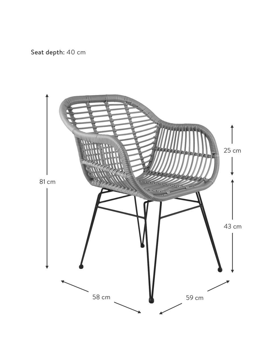 Krzesło z podłokietnikami z polirattanu Costa, 2 szt., Stelaż: metal malowany proszkowo, Szary, czarny, S 59 x G 58 cm