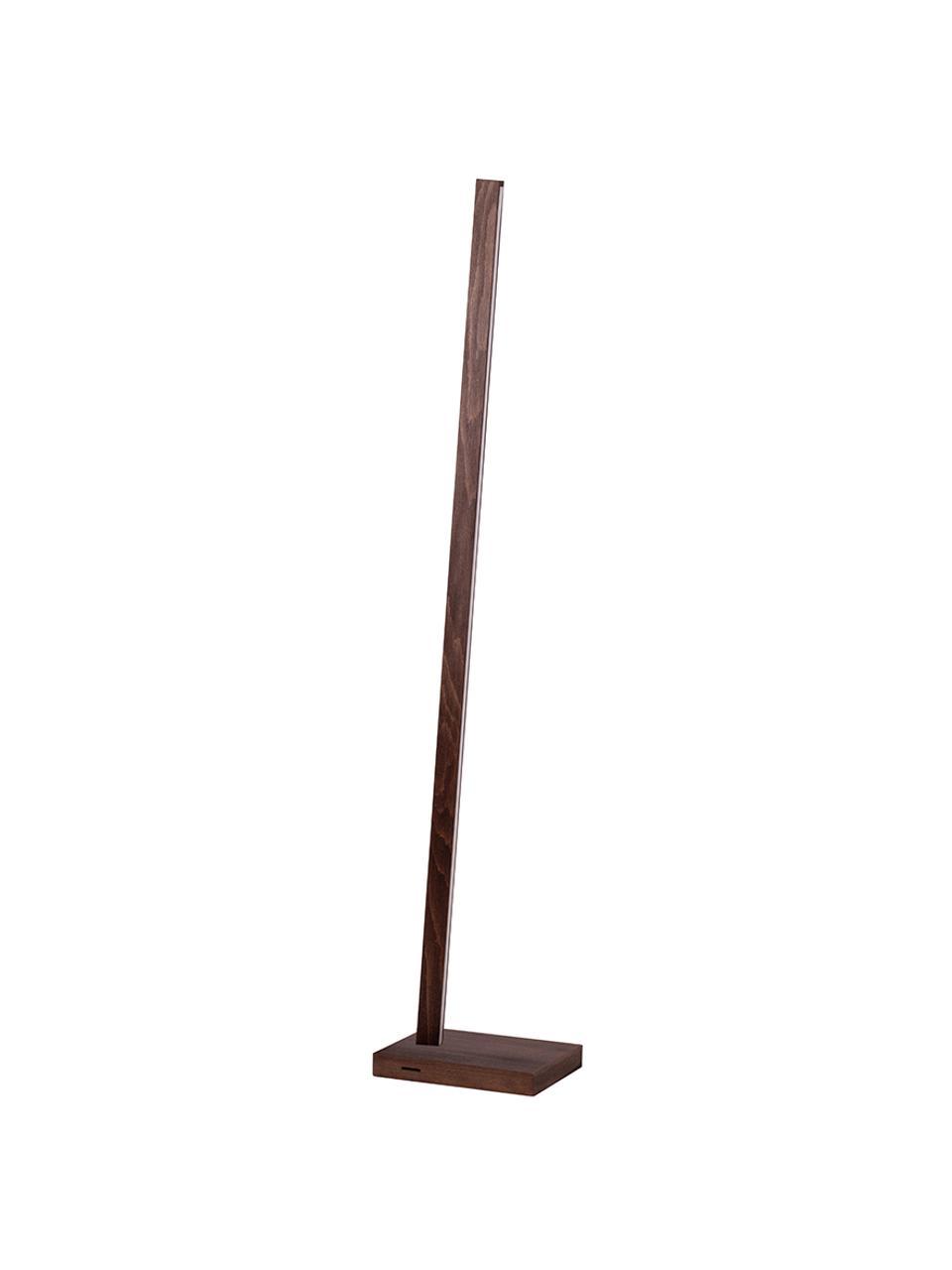 Lampa podłogowa LED z drewna z funkcją przyciemniania Linus, Ciemny brązowy, S 20 x W 150 cm
