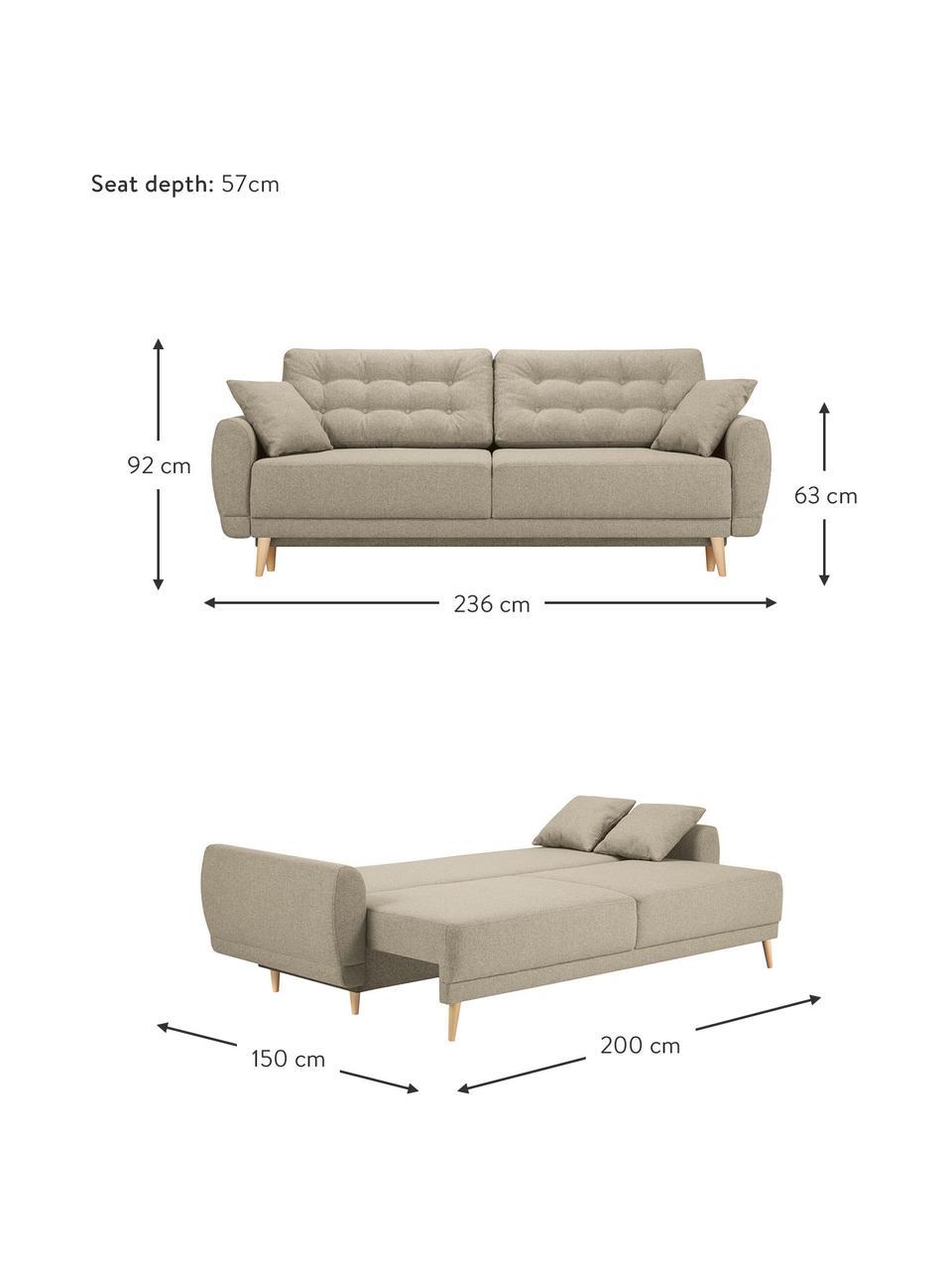 Sofa rozkładana Spinel (3-osobowa), Tapicerka: poliester Dzięki tkaninie, Nogi: drewno brzozowe, Ciemnobeżowy, S 236 x G 93 cm