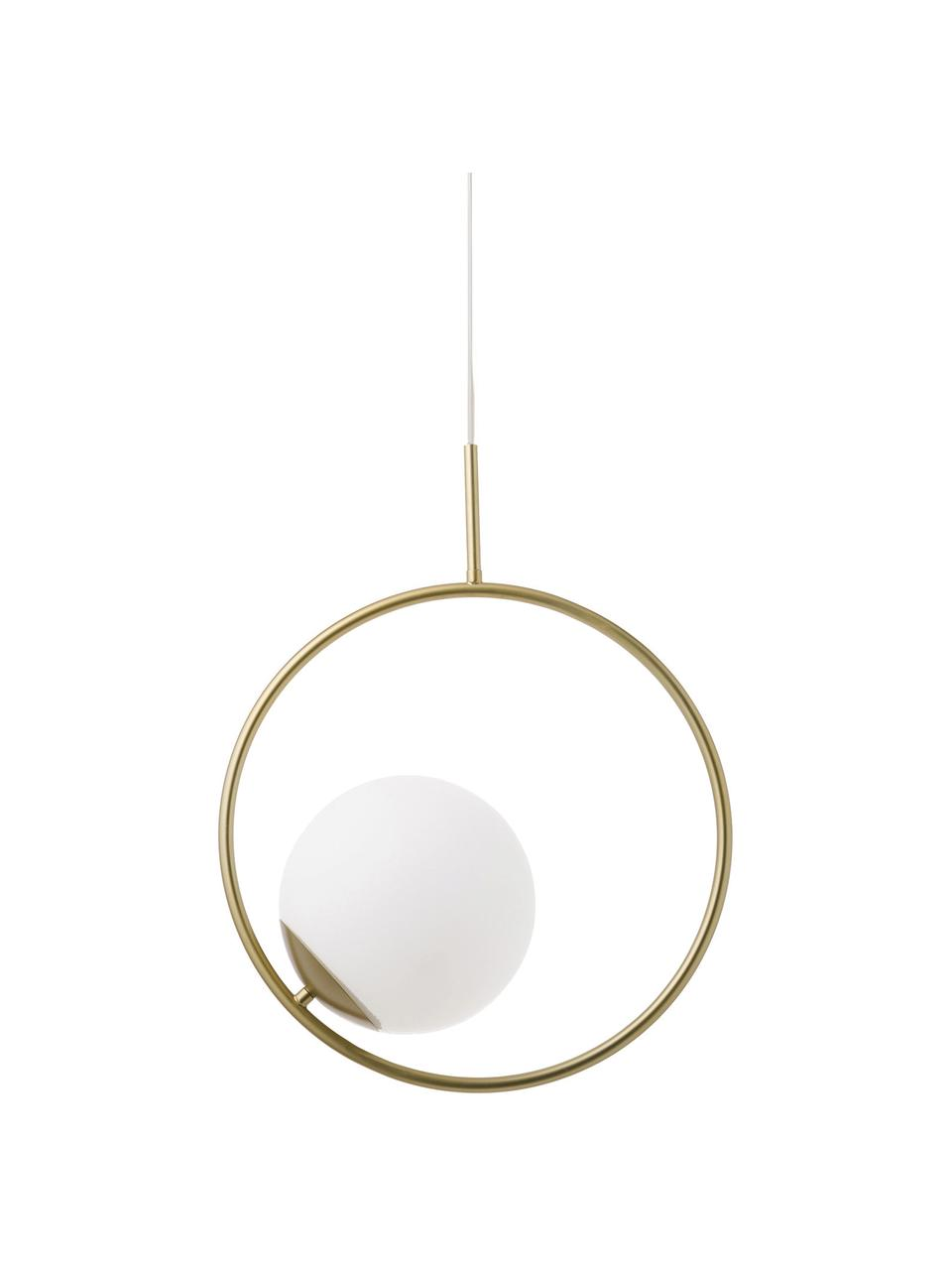 Hanglamp Chloe van opaalglas, Lampenkap: glas, Wit, messingkleurig, 40 x 51 cm