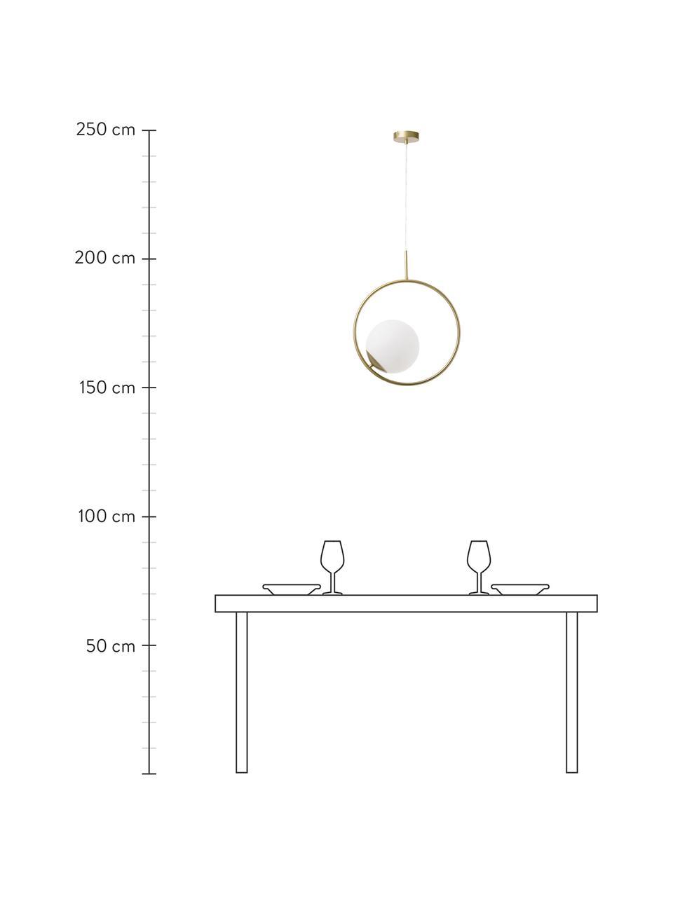 Pendelleuchte Chloe aus Opalglas, Lampenschirm: Opalglas, Baldachin: Metall, vermessingt, Weiß, Messing, 40 x 51 cm
