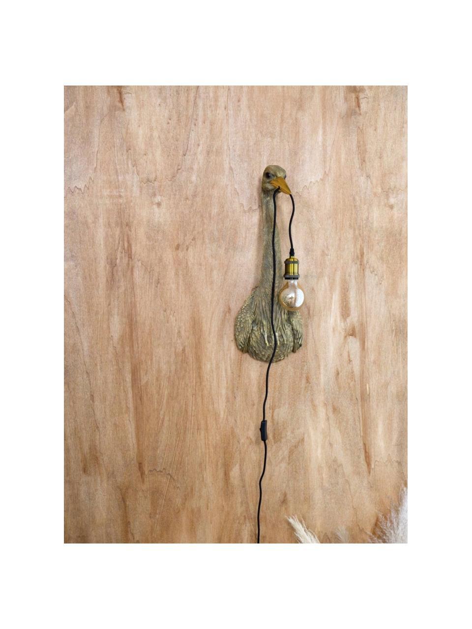 Ręcznie wykonany kinkiet z wtyczką Heron, Brązowy, S 26 x W 62 cm