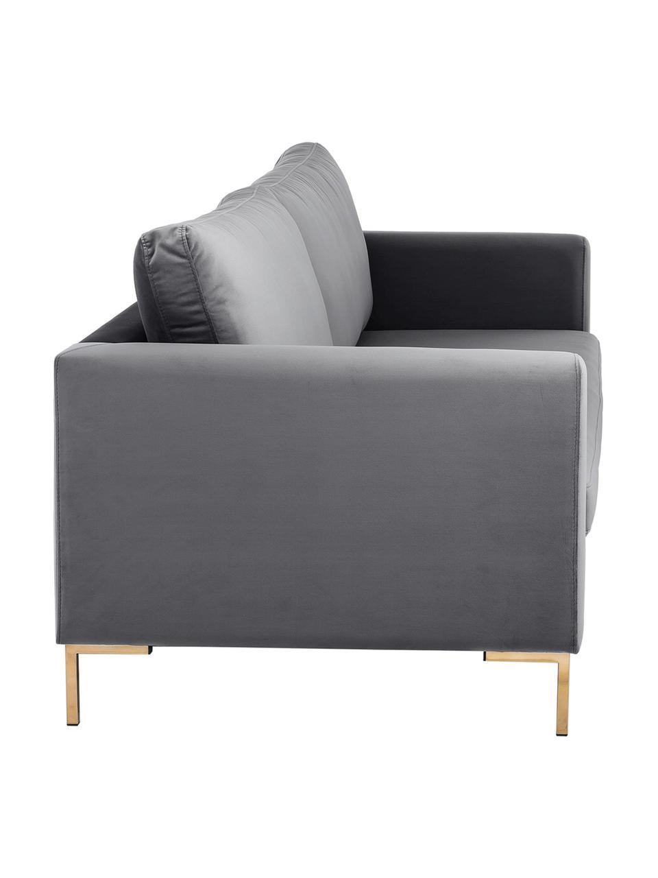 Samt-Sofa Luna (3-Sitzer) in Dunkelgrau mit Metall-Füßen, Bezug: Samt (Polyester) Der hoch, Gestell: Massives Buchenholz, Füße: Metall, galvanisiert, Samt Dunkelgrau, Gold, B 230 x T 95 cm
