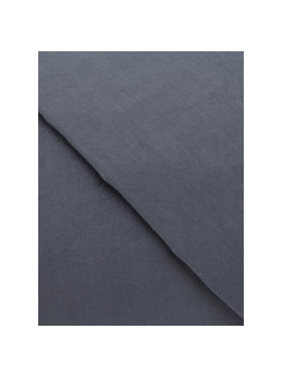 Parure copripiumino in cotone effetto stone washed Velle, Tessuto: cotone ranforce, Fronte e retro: grigio scuro, 155 x 200 cm + 1 federa 50 x 80 cm
