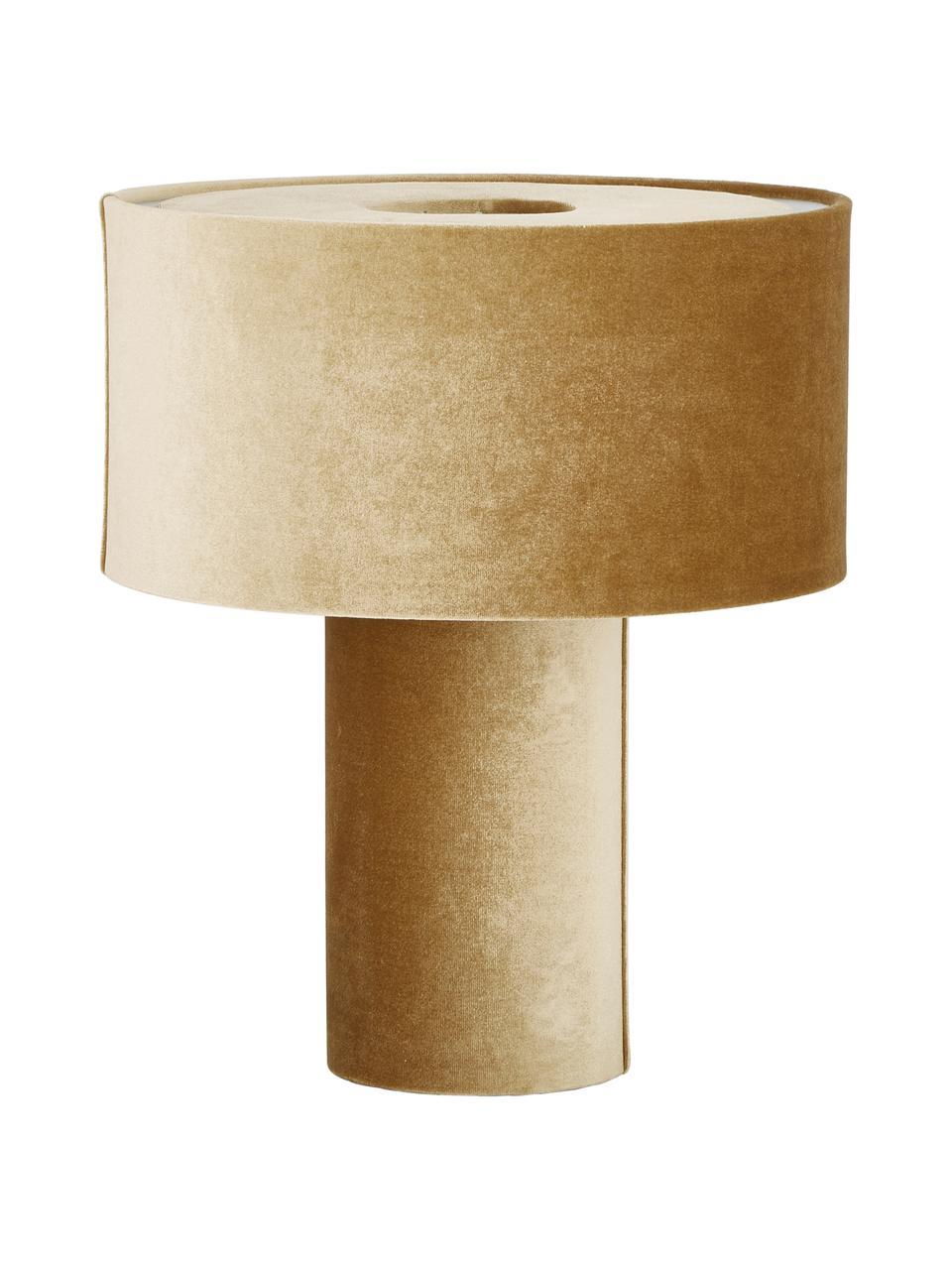 Samt-Tischlampe Frida in Senfgelb, Lampenfuß: Kunststoff mit Samtbezug, Lampenschirm: Samt, Senfgelb, Ø 30 x H 36 cm