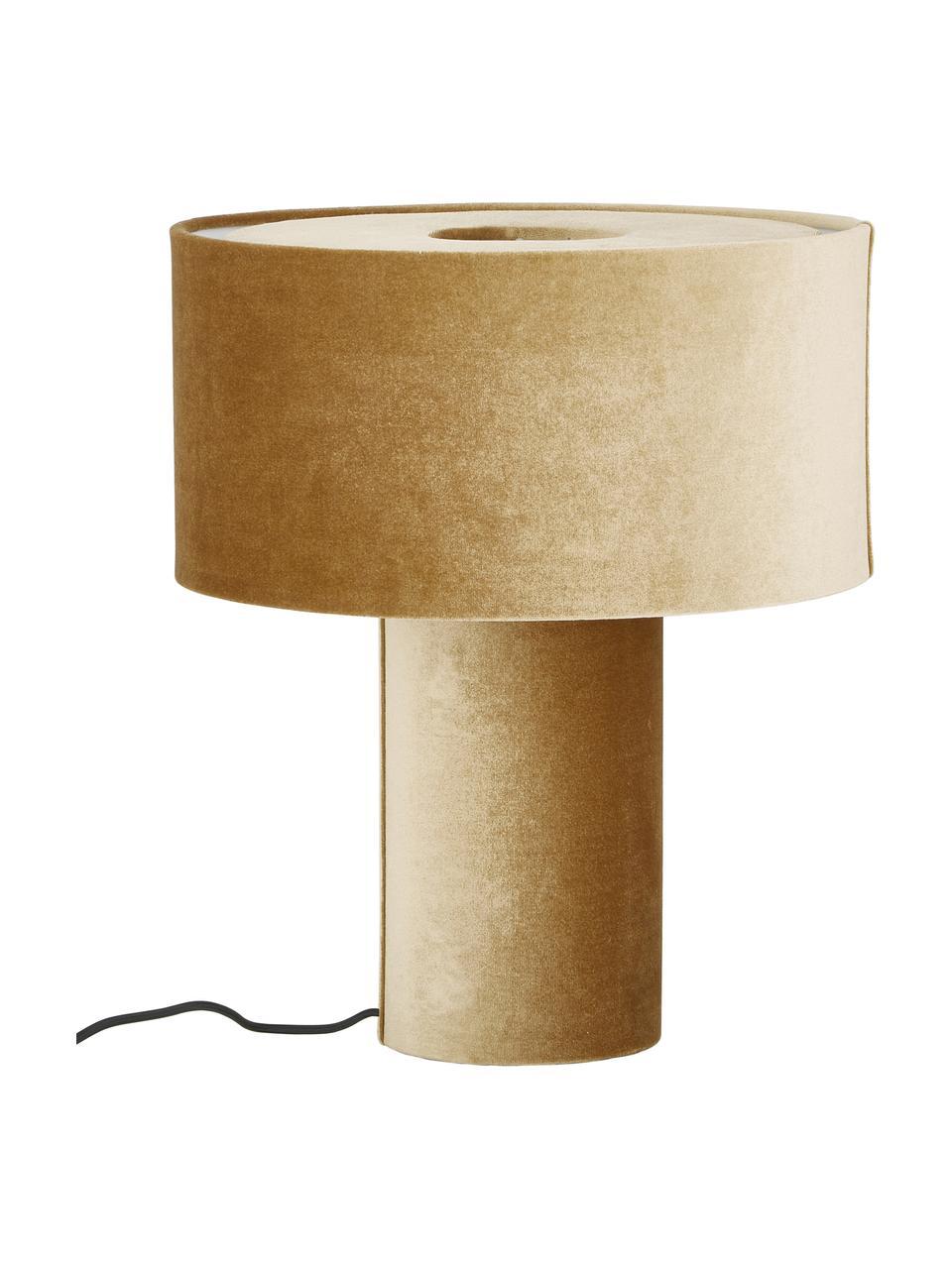 Fluwelen tafellamp Frida in mosterdgeel, Lampvoet: kunststof met fluwelen be, Lampenkap: fluweel, Diffuser: fluweel, Mosterdgeel, Ø 30 x H 36 cm
