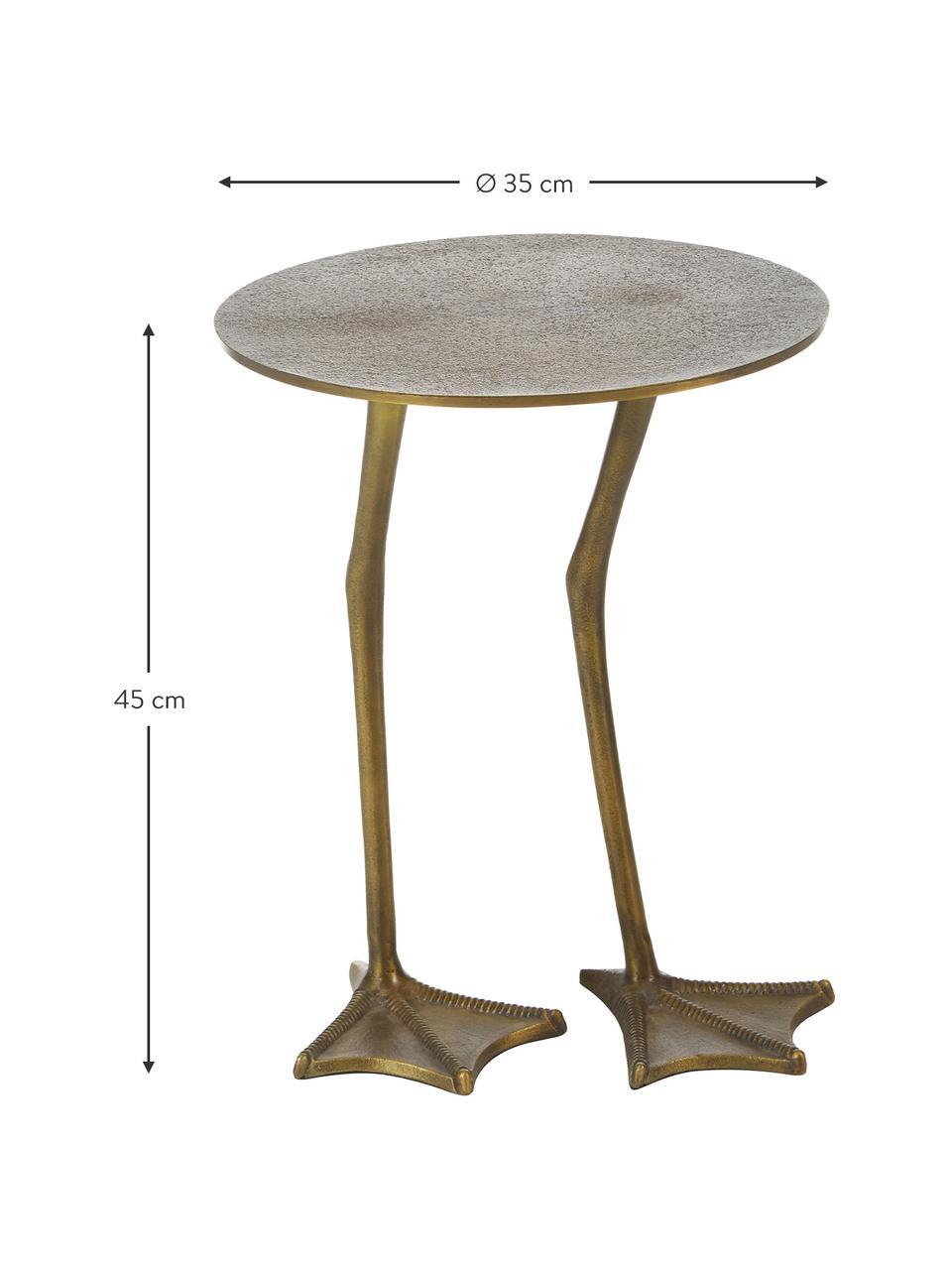 Decoratieve bijzettafel Duck van metaal, Vermessingd en gelakt metaal, Goudkleurig, Ø 35 x H 45 cm