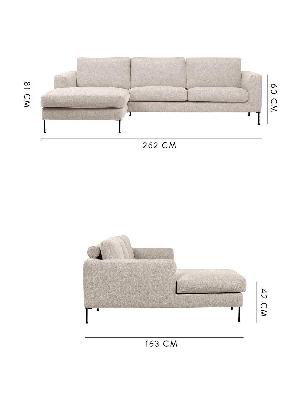 Sofa narożna z metalowymi nogami Cucita (3-osobowa), Tapicerka: tkanina (poliester) Dzięk, Nogi: metal lakierowany, Beżowy, S 262 x G 163 cm