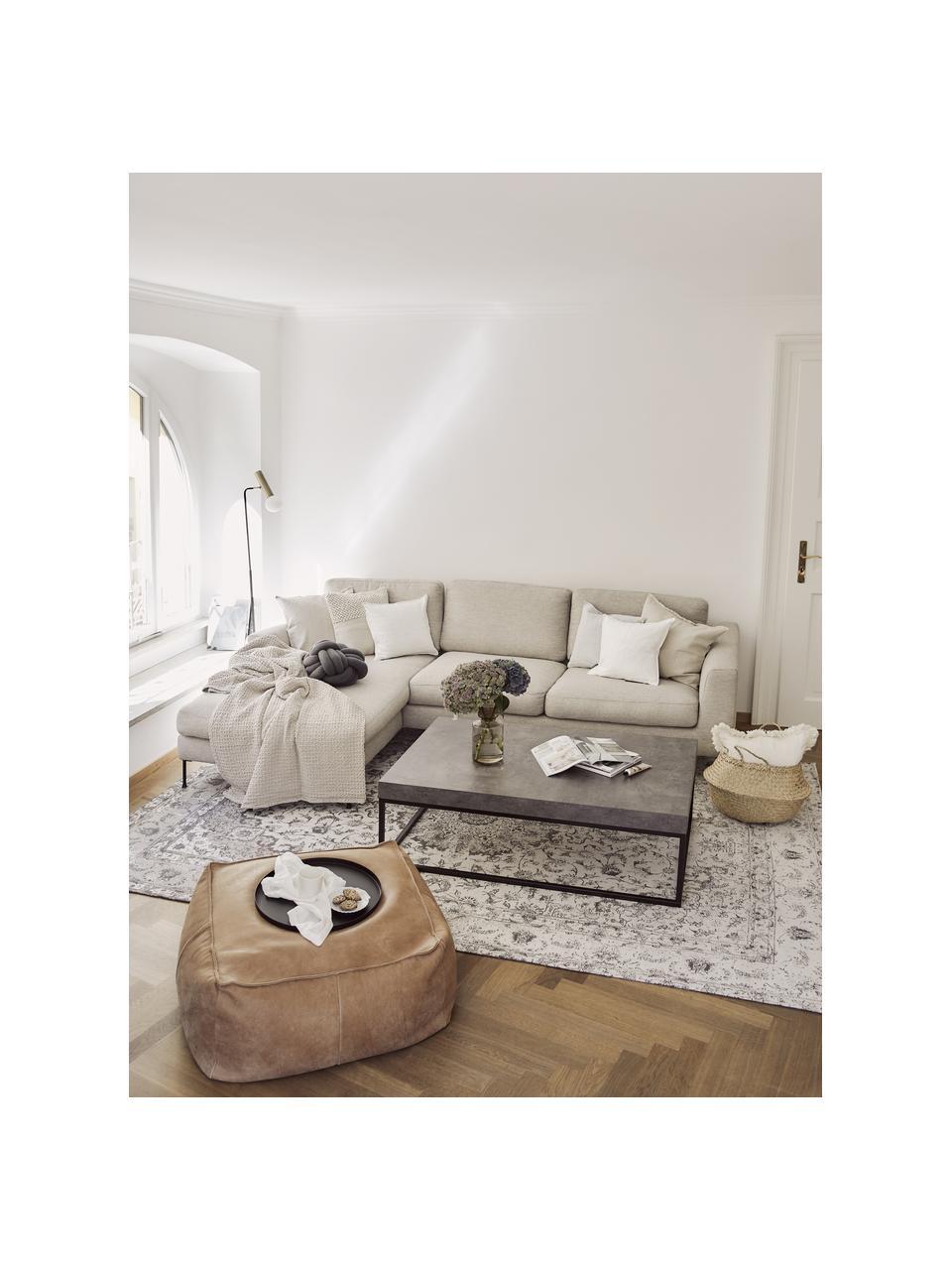 Hoekbank Cucita (3-zits) in beige met metalen poten, Bekleding: geweven stof (polyester), Frame: massief grenenhout, Poten: gelakt metaal, Geweven stof beige, B 262 x D 163 cm