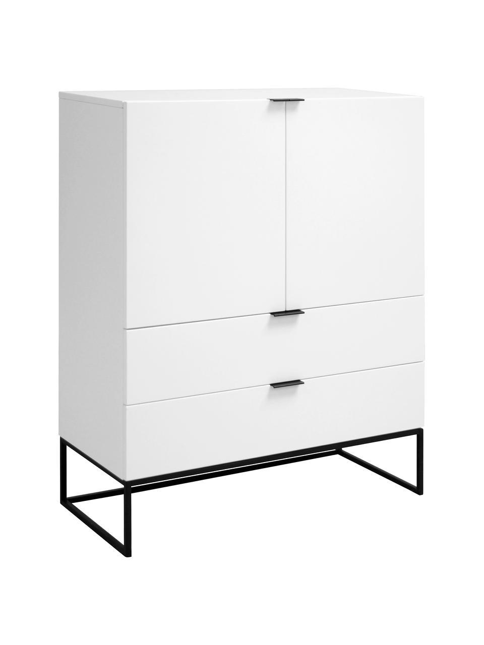 Witte dressoir Kobe met deuren, Kast en voorzijde: mat wit. Frame en handvatten: mat zwart, B 100 cm