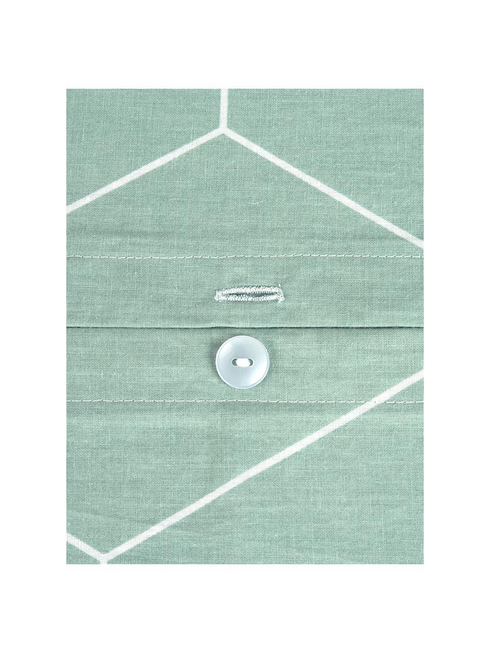 Baumwoll-Kissenbezüge Lynn mit grafischem Muster, 2 Stück, Webart: Renforcé Fadendichte 144 , Mint, Cremeweiß, 40 x 80 cm