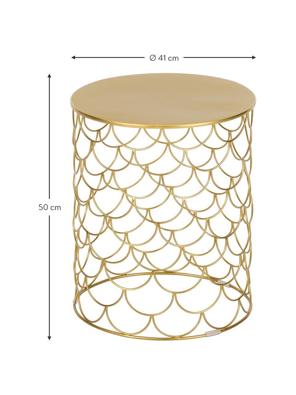 Tavolino rotondo in metallo River, Metallo rivestito, Oro, Ø 41 x Alt. 50 cm