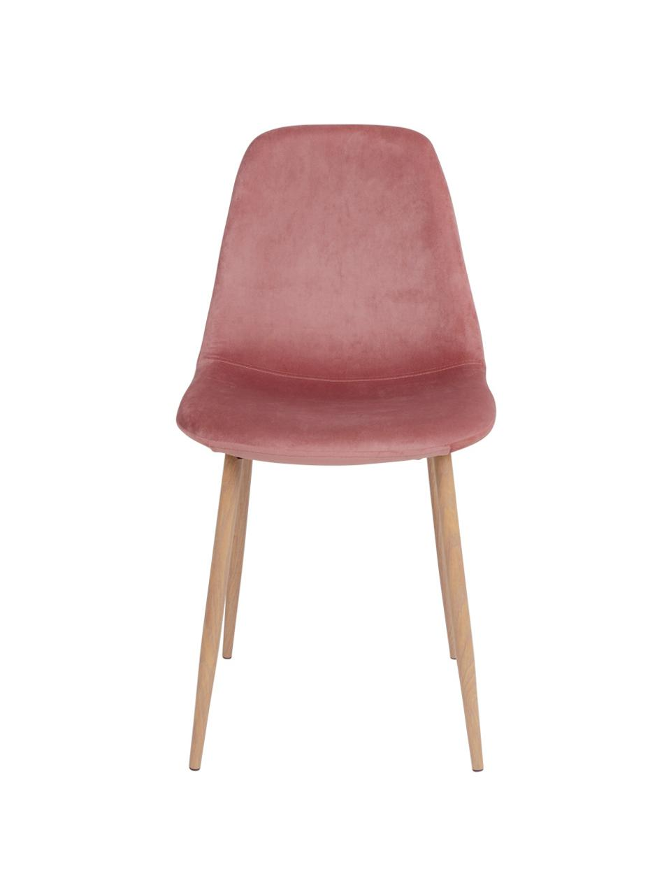 Krzesło tapicerowane z aksamitu Stockholm, Tapicerka: aksamit poliestrowy, Nogi: metal powlekany, Blady różowy, jasny brązowy, S 47 x G 50 cm