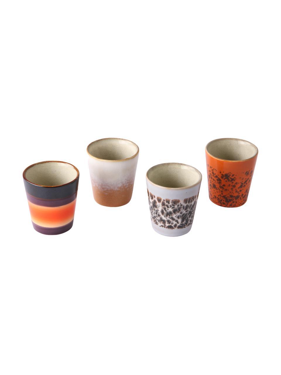 Handgemaakte espressokopjesset 70's in retro stijl, 4-delig, Keramiek, Multicolour, Ø 6 x H 6 cm