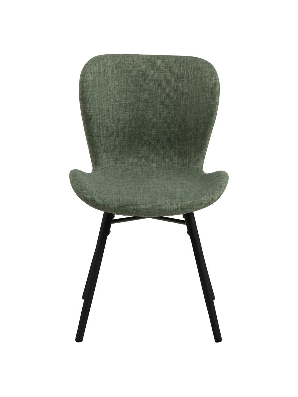 Krzesło tapicerowane Batilda, 2 szt., Tapicerka: 100% poliester, Nogi: drewno kauczukowe, powlek, Zielony, czarny, S 47 x G 53 cm