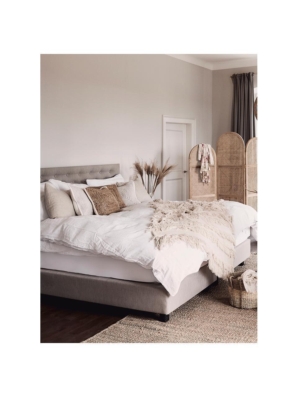 Pościel z lnu z efektem sprania Nature, Biały, 135 x 200 cm + 1 poduszka 80 x 80 cm