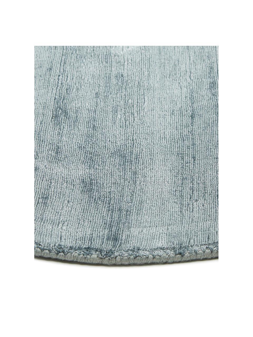 Runder Viskoseteppich Jane in Eisblau, handgewebt, Flor: 100% Viskose, Eisblau, Ø 200 cm (Größe L)