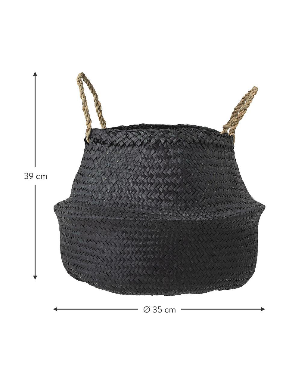 Kosz do przechowywania z trawy morskiej Floria, Włókno naturalne, Czarny, Ø 35 x W 39 cm