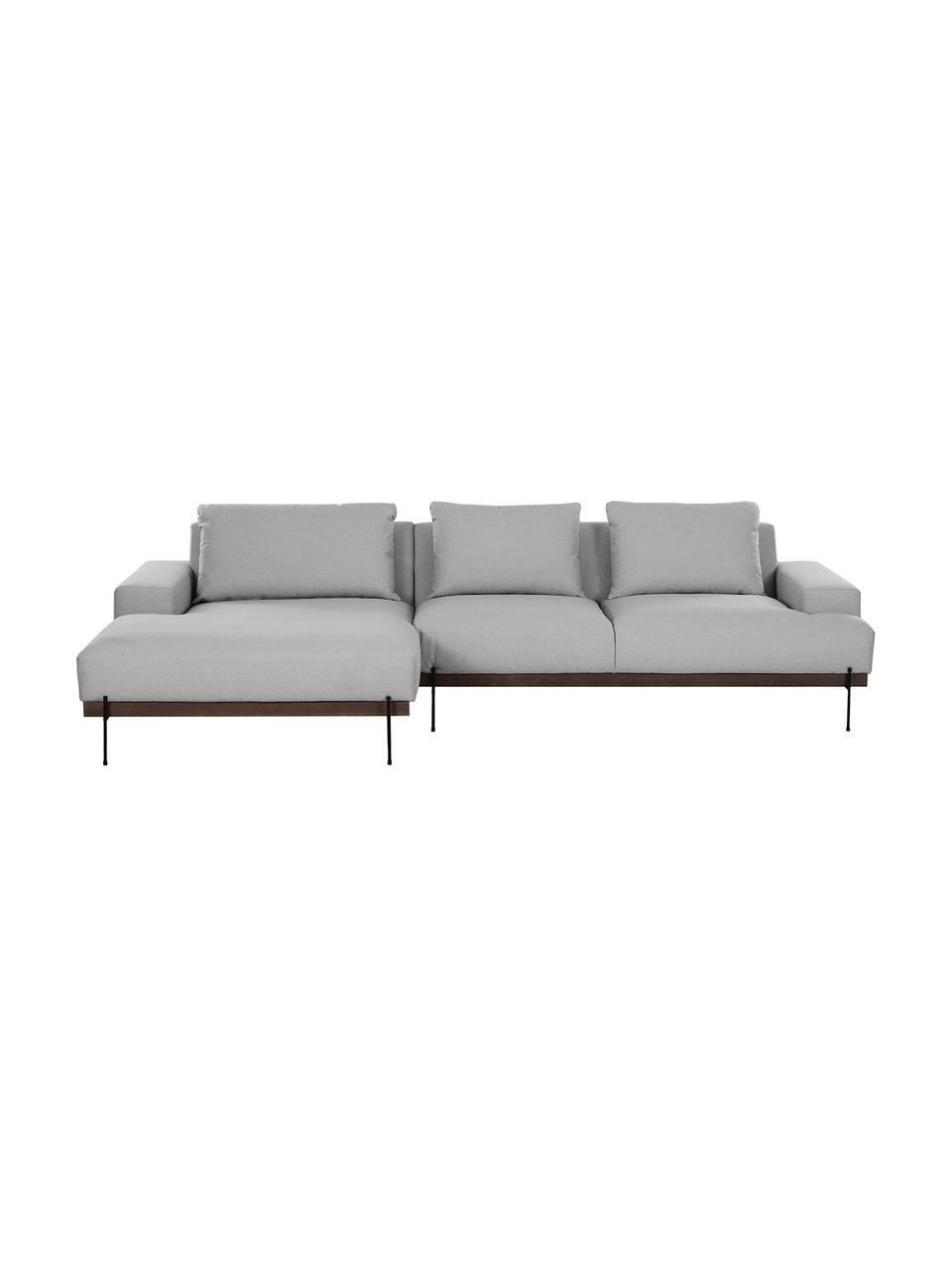 Sofa narożna z metalowymi nogami Brooks, Tapicerka: poliester Tapicerka nie j, Stelaż: lite drewno sosnowe, Nogi: metal malowany proszkowo, Szary, S 315 x G 148 cm