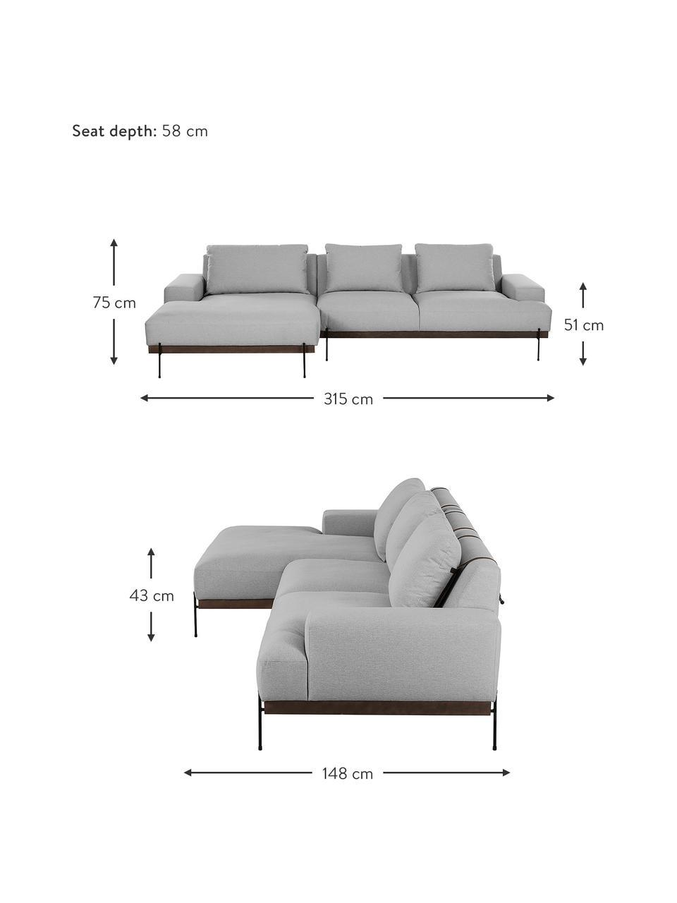 Canapé d'anglegris Brooks, Tissu gris