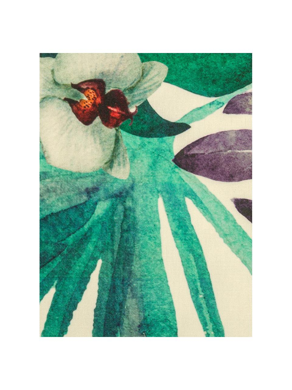 Outdoor-Kissenhülle Laos mit tropischem Print, 100% Dralon (Polyacryl), Beige, Mehrfarbig, 40 x 60 cm