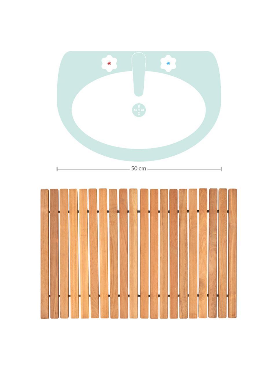 Badvorleger Anna aus Teakholz, Teakholz Das Produkt besteht aus Teakholz aus zertifizierter Forstwirtschaft in Indonesien, in erster Linie aus überschüssigem Holz aus der Möbelproduktion., Braun, 40 x 60 cm