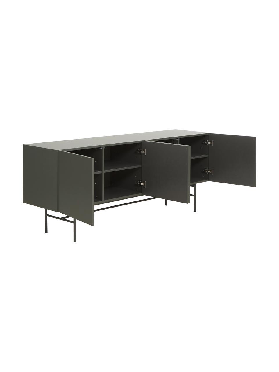 Modernes Sideboard Anders mit Türen in Grau, Korpus: Mitteldichte Holzfaserpla, Füße: Metall, pulverbeschichtet, Grau, 200 x 79 cm
