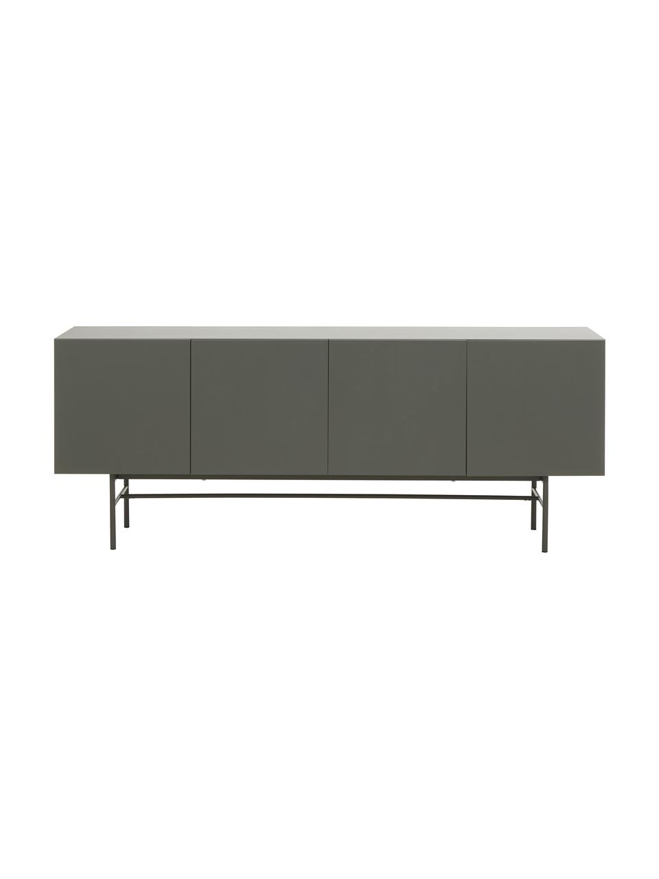 Modern dressoir Anders met deuren in grijs, Frame: gelakt MDF, Poten: gepoedercoat metaal, Grijs, 200 x 79 cm