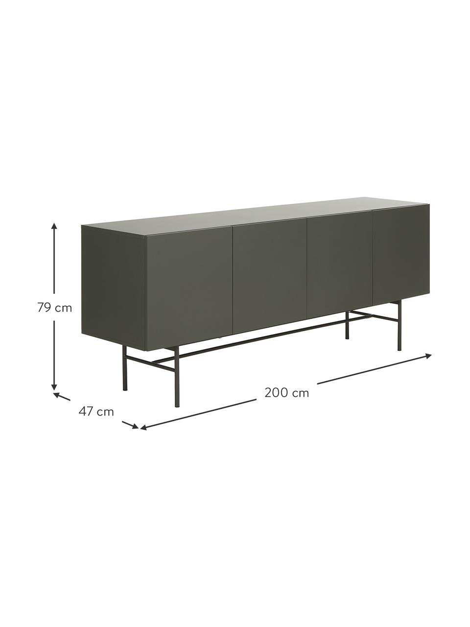 Modernes Sideboard Anders mit 4 Türen in Grau, Korpus: Mitteldichte Holzfaserpla, Füße: Metall, pulverbeschichtet, Grau, 200 x 79 cm