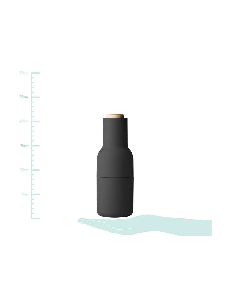 Designer Salz- & Pfeffermühle Bottle Grinder mit Holzdeckel, Korpus: Kunststoff, Mahlwerk: Keramik, Deckel: Holz, Anthrazit, Hellgrau, Braun, Ø 8 x H 21 cm