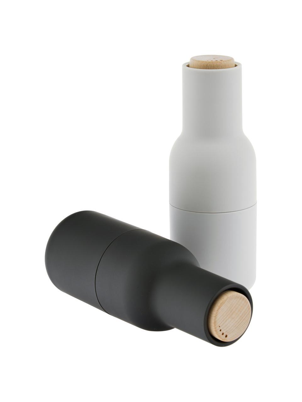 Młynek do soli i pieprzu z pokrywką z drewna Bottle Grinder, Korpus: tworzywo sztuczne, Antracytowy, jasny szary, brązowy, Ø 8 x W 21 cm