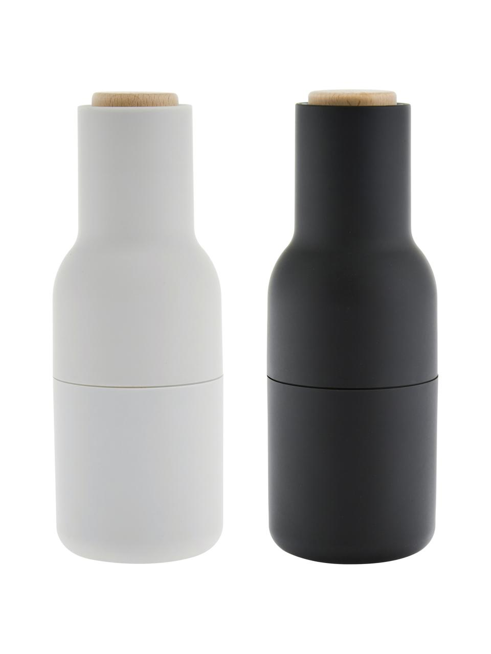 Set 2 macina spezie color antracite/grigio chiaro con tappo in legno Bottle Grinder, Struttura: materiale sintetico, Coperchio: legno, Antracite, grigio chiaro, marrone, Ø 8 x Alt. 21 cm