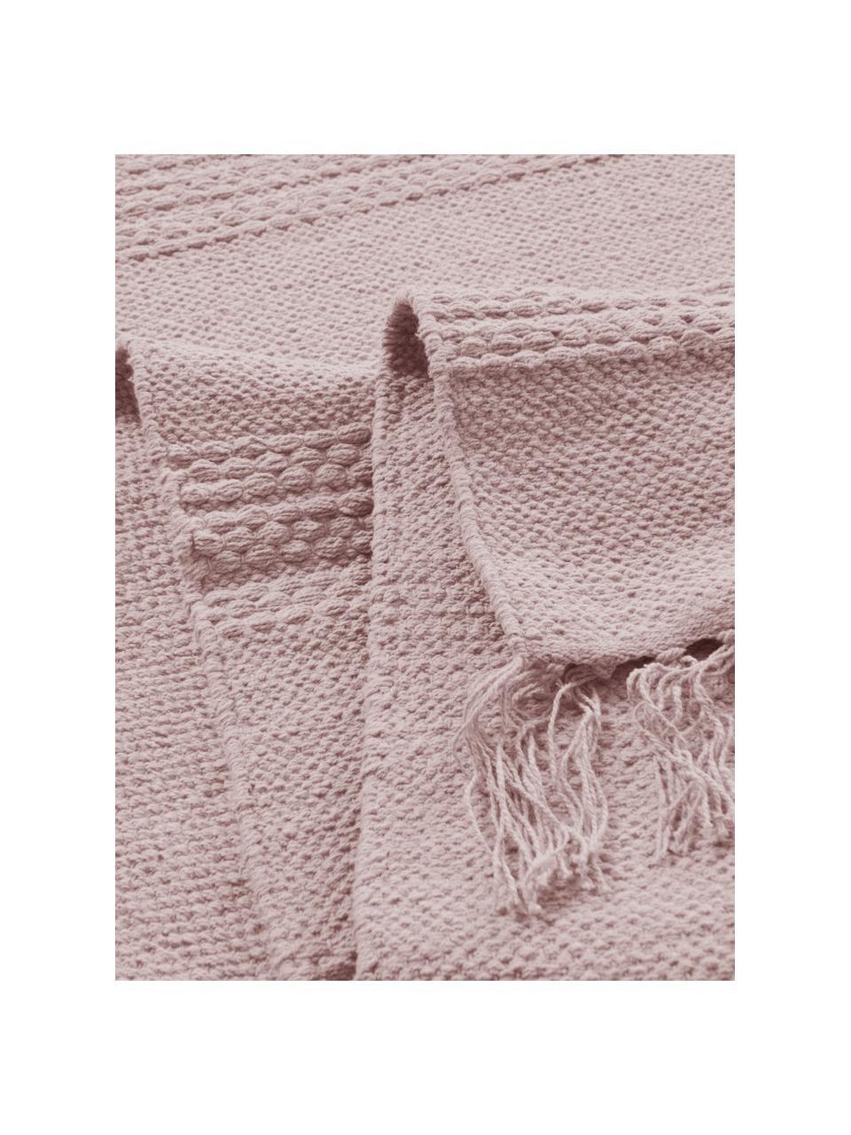 Tappeto boho in cotone a righe con frangeTanya, 100% cotone, Rosa, Larg. 200 x Lung. 300 cm (taglia L)