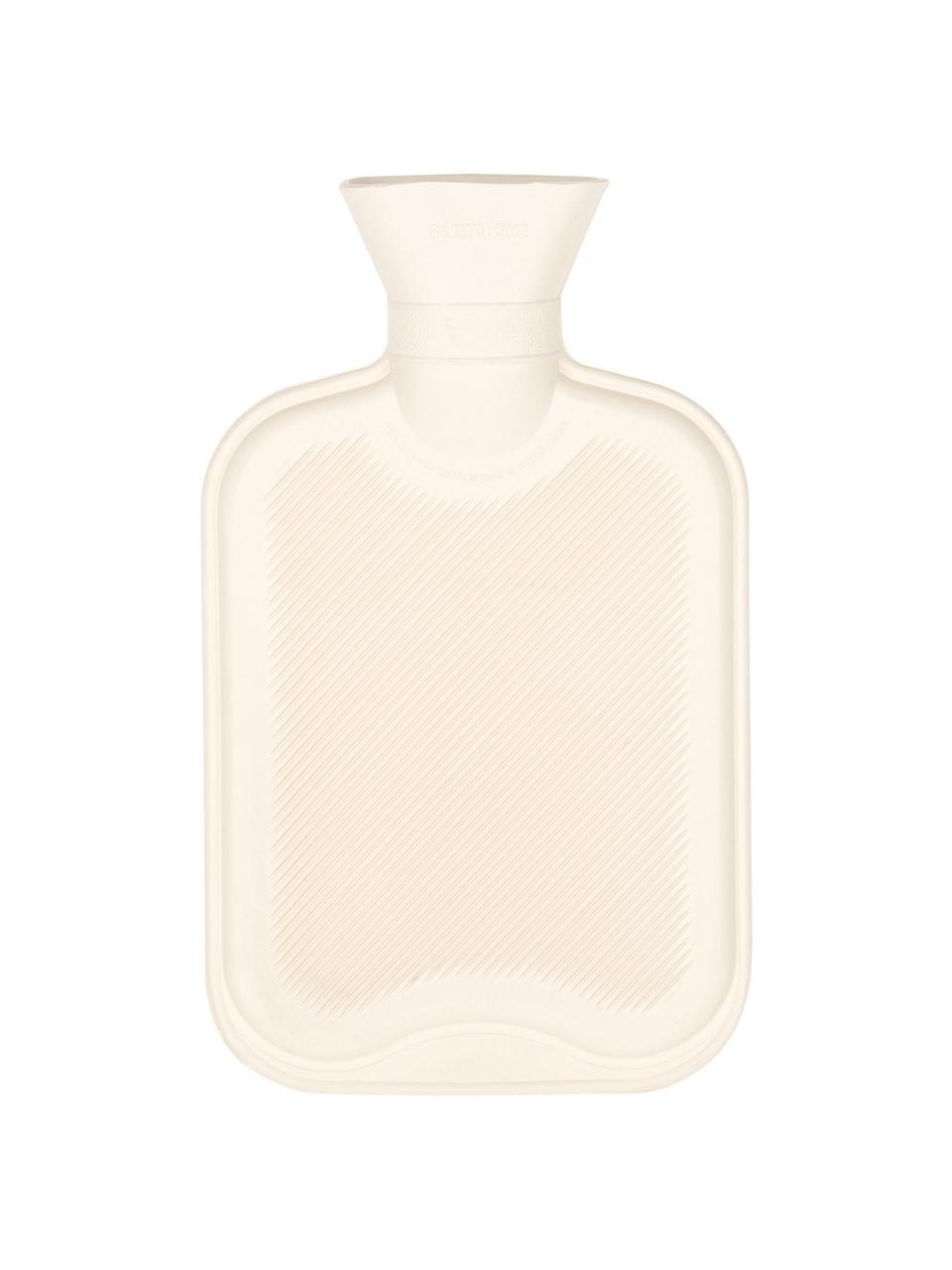 Kašmírová ohřívací láhev Florentina, Potah: krémově bílá Dekorativní mašle: béžová Ohřívací láhev: krémově bílá