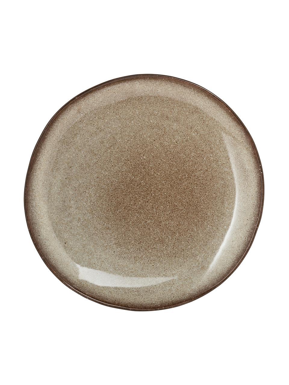 Piatto piano fatto a mano beige Sandrine, Terracotta, Tonalità beige, Ø 22 x Alt. 2 cm