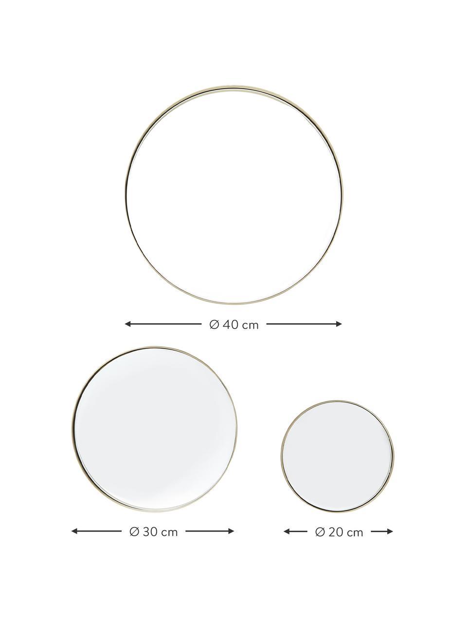Wandspiegelset Ivy met goudkleurig frame, Lijst: vermessingd metaal, Geborsteld messingkleurig, Set met verschillende formaten