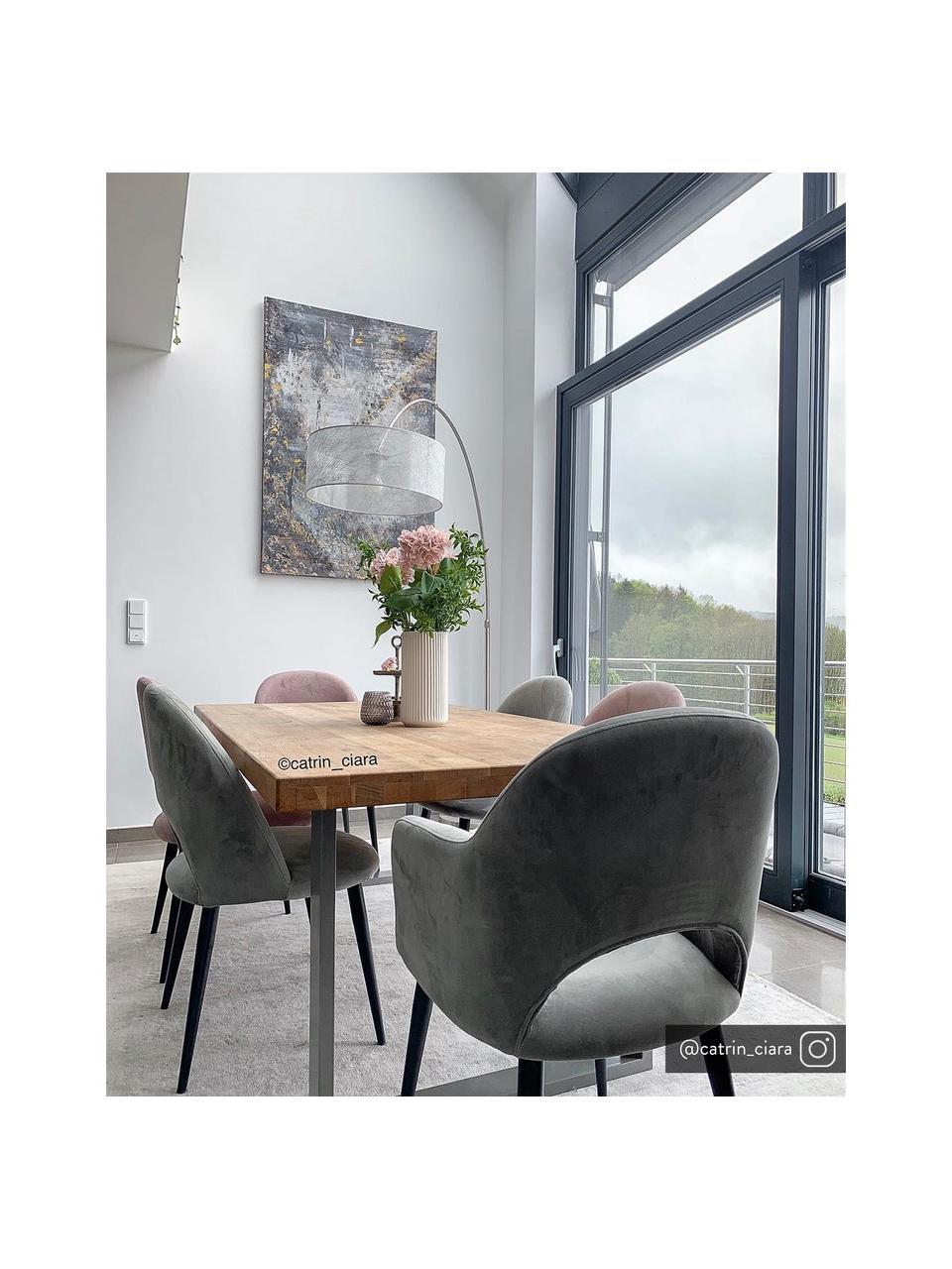 Krzesło z podłokietnikami z aksamitu Rachel, Tapicerka: aksamit (poliester) Dzięk, Nogi: metal malowany proszkowo, Aksamitny szary, S 64 x G 47 cm