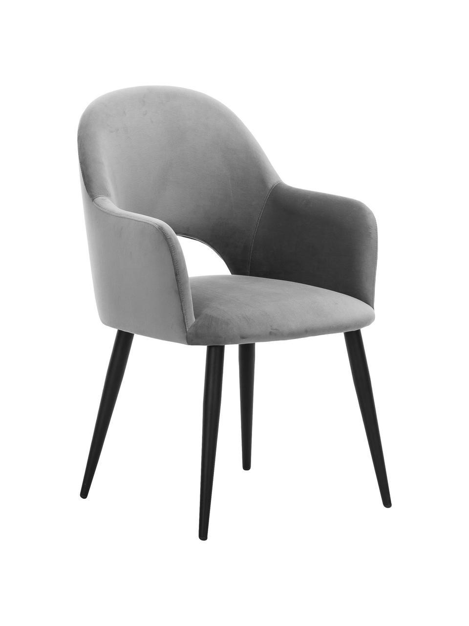 Sametová židle spodručkami Rachel, Šedá