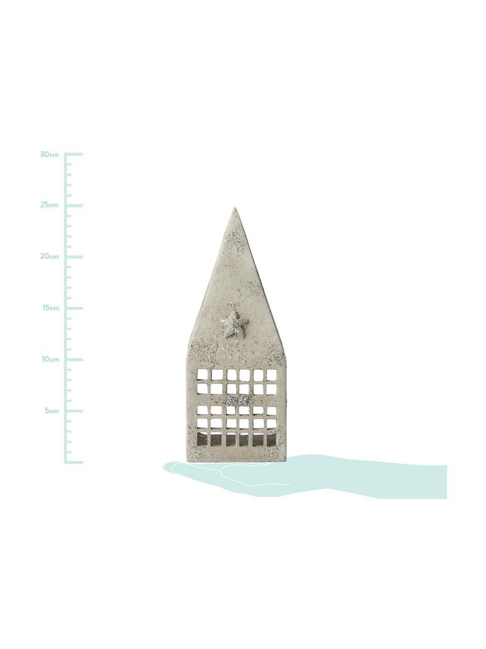 Windlicht Serafina House, Polyresin, Lichtgrijs, zilverkleurig, 10 x 25 cm