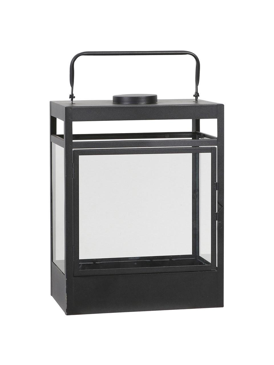 Mobile batteriebetriebene LED-Laterne Flint, Gestell: Metall, beschichtet, Schwarz, 38 x 18 cm