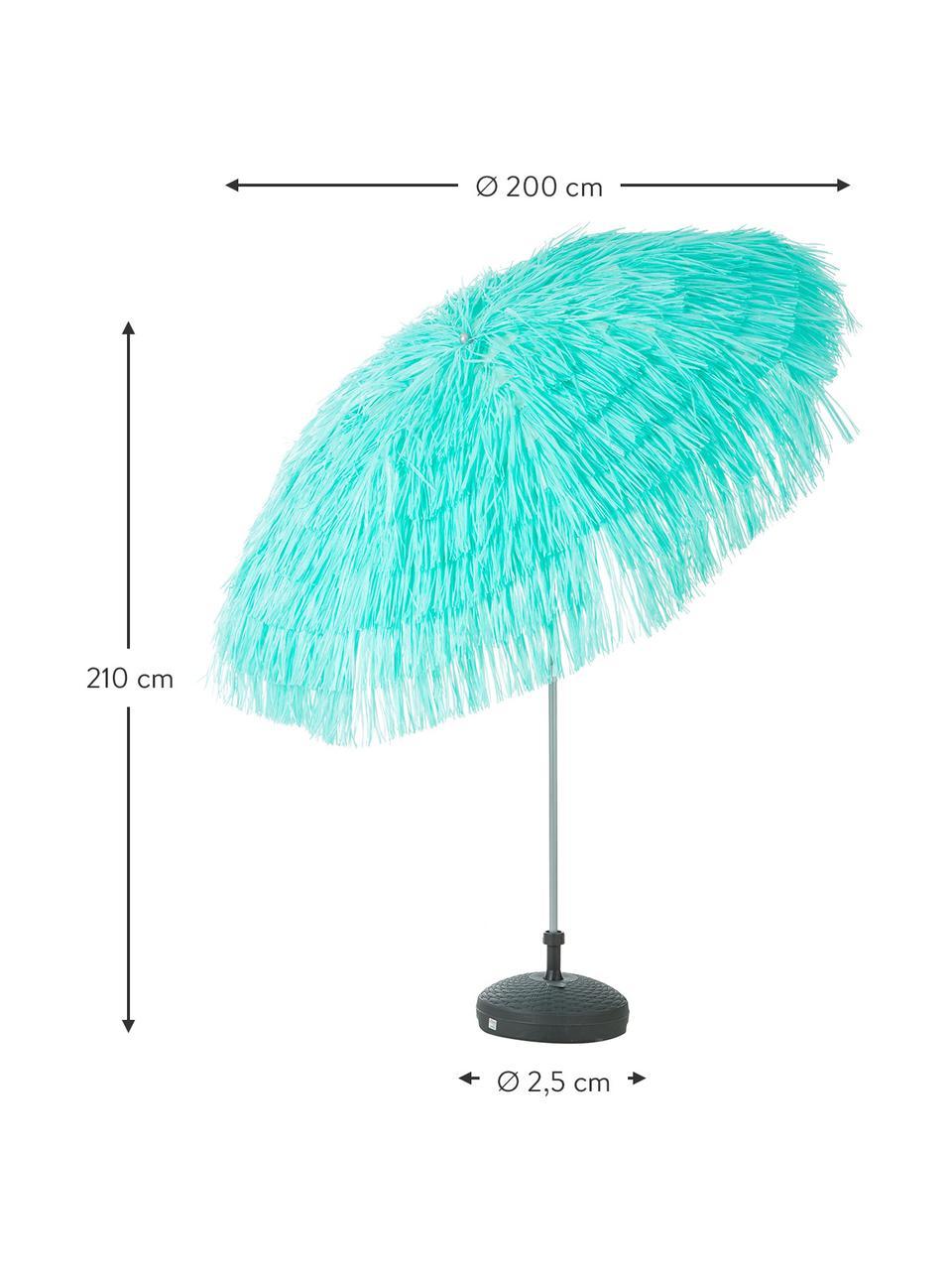 Sonnenschirm Hawaii in Türkis mit Fransen, Ø 200 cm, Türkis, Ø 200 x H 210 cm