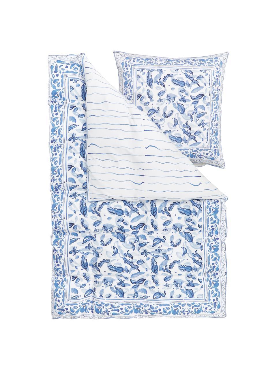 Baumwollsatin-Wendebettwäsche Andrea mit Blattmotiv, Webart: Satin Fadendichte 200 TC,, Blau, 240 x 220 cm + 2 Kissen 80 x 80 cm