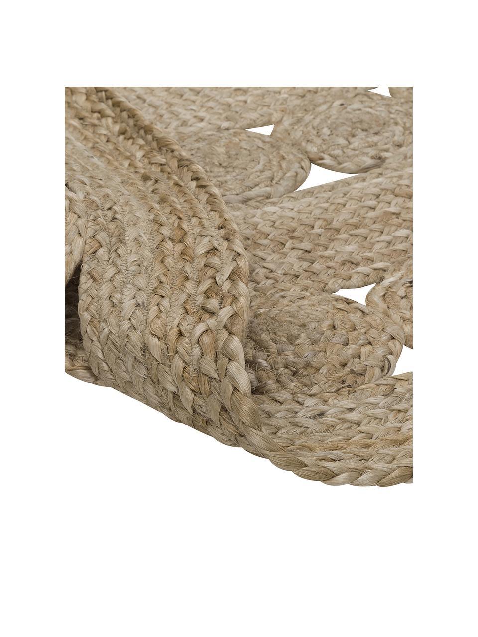 Runder Jute-Teppich Shyam im Boho Style, handgefertigt, 100% Jute, Jute, Ø 150 cm (Größe M)