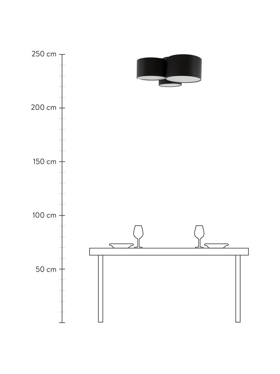 Große Deckenleuchte Luke, Baldachin: Metall, pulverbeschichtet, Schwarz, Ø 61 x H 26 cm
