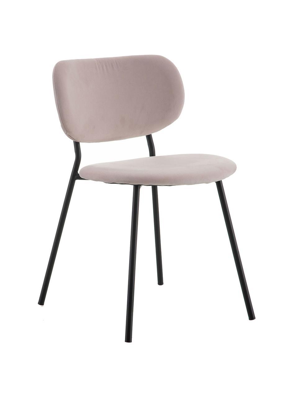 Krzesło tapicerowane z aksamitu Elyse, Tapicerka: 100% aksamit poliestrowy,, Nogi: metal, Brudny różowy, czarny, S 49 x G 46 cm
