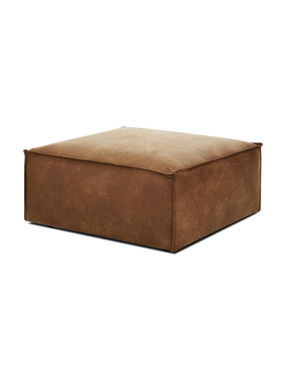 Pouf canapé cuir recyclé Lennon, Cuir brun