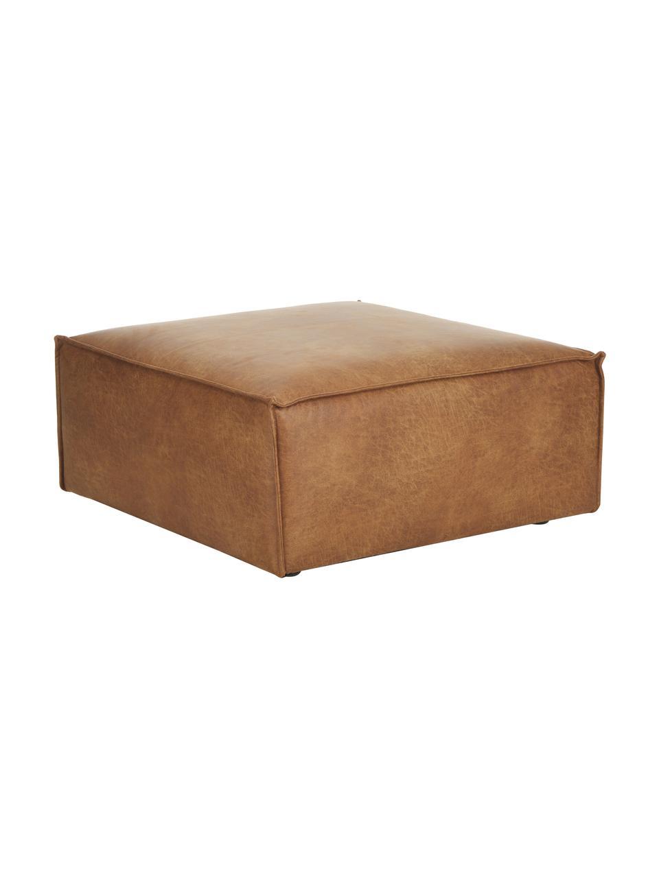 Poggiapiedi da divano in pelle marrone Lennon, Pelle marrone, Larg. 88 x Alt. 43 cm
