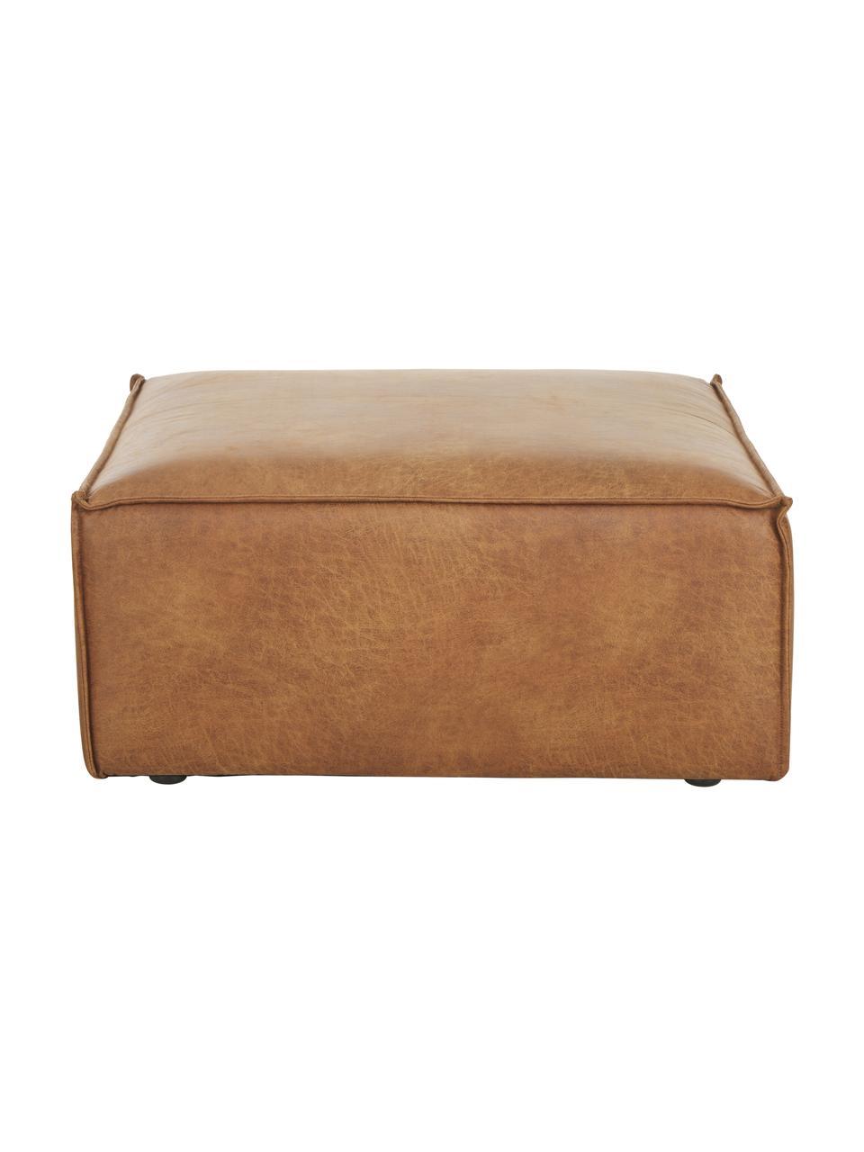 Sofa-Hocker Lennon in Braun aus recyceltem Leder, Bezug: Recyceltes Leder (70% Led, Gestell: Massives Kiefernholz, Spe, Füße: Kunststoff Die Füße befin, Leder Braun, 88 x 43 cm