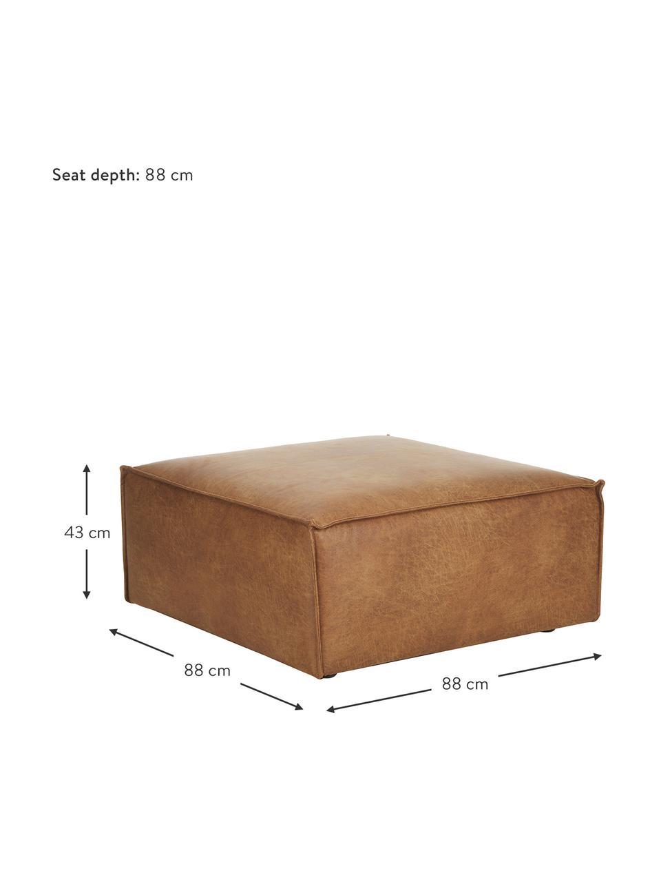 Puf ze skóry z recyklingu Lennon, Tapicerka: skóra z recyklingu (70% s, Nogi: tworzywo sztuczne Nogi zn, Skórzany brązowy, S 88 x W 43 cm