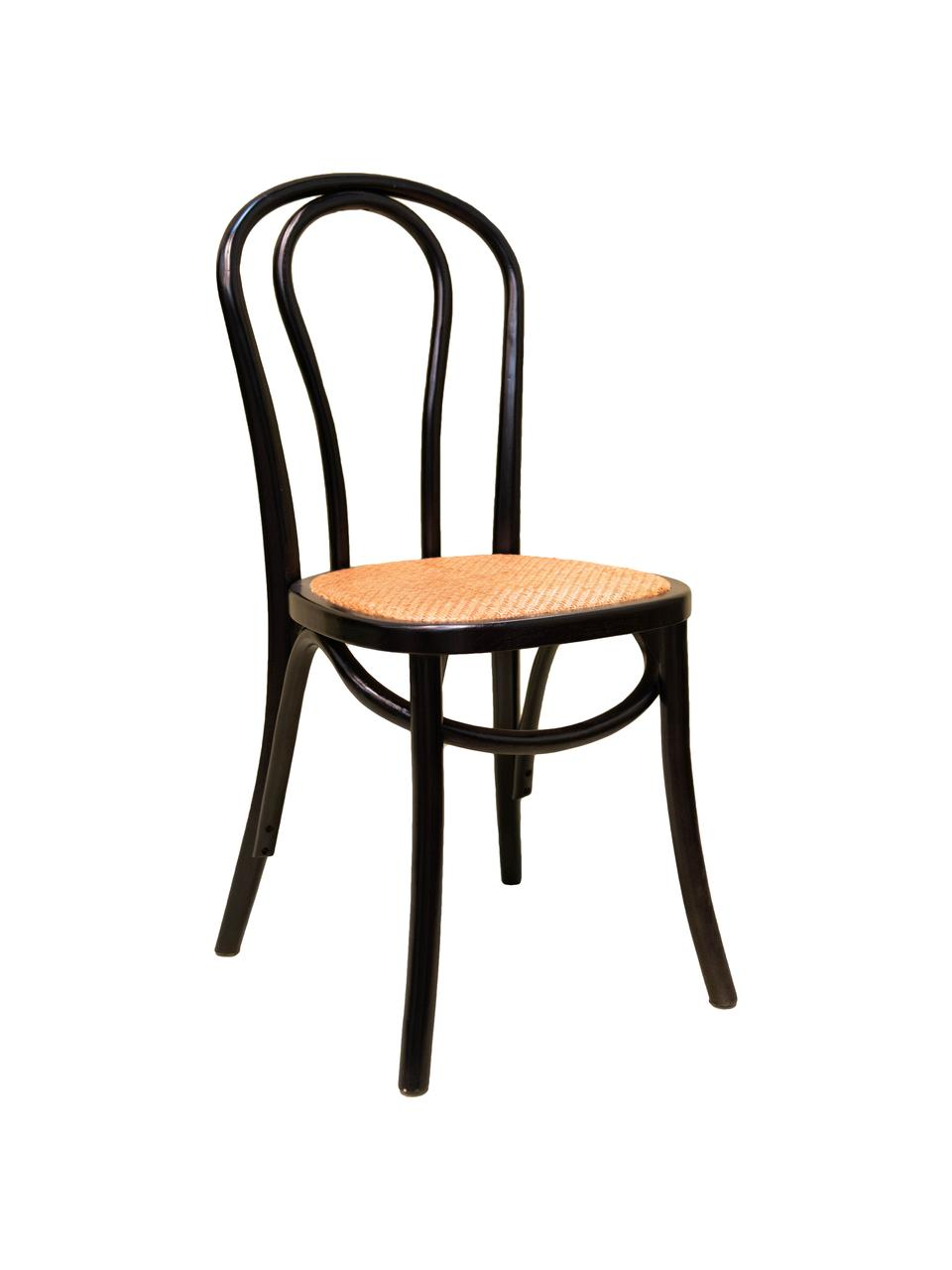 Krzesło z drewna Zari, Czarny, S 42 x G 42 cm